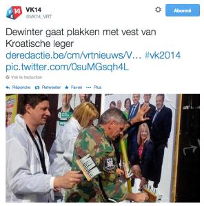 """""""Dewinter colle des affiches avec une veste de l'armée croate"""" (sic)"""