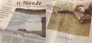 Le Monde, page une, page deux. Partagé par Tim Soret sur Facebook, twitté par Chantal Istace (@istacec).