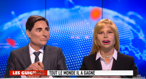 Guignols : contrairement à ce qui dit le bandeau, le couple Barbara et Clément n'est vraiment pas le couple gagnant.