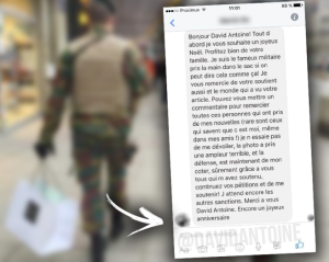 Le message envoyé par le soldat présumé à David Antoine (Radio Contact)